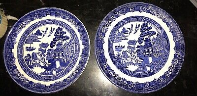2-Johnson Brothers Blue Willow Plates, 5.5 in & one 6 in ~ Excellent Preowned Co