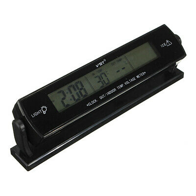 12V Car Clock Display Voltage Temperature Thermometer Alarm Monitor