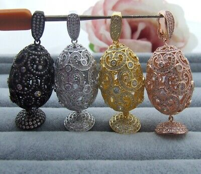 1pc  gold plated Cz micro Egg Charm  tassel Pendant  DIY Jewelry Findings
