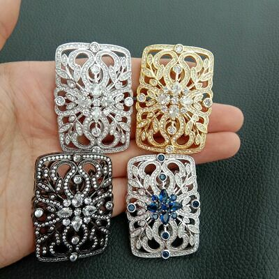 1pc 30x45mm gold plated Cz micro Rectangle connector DIY Jewelry Findings