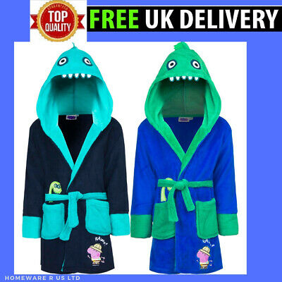 Boys Peppa Pig George Dressing Gown Bath Robe Pyjamas Nightwear 3 4 6 8 Years