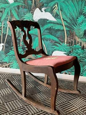 Carved Wood Karpen Needlepoint Sewing Rocker Rocking Chair In Good Condition