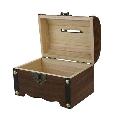 1PCS Wooden Treasure Box Safe Handmade Polishing Creative Craft with Lock