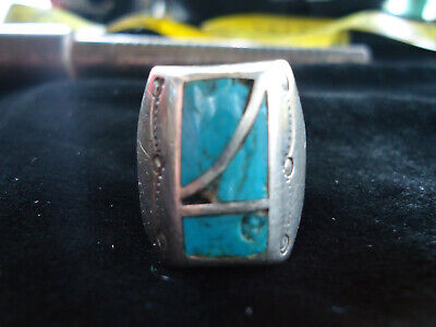 Old Vintage Artist Signed Bm Navajo Sterling Silver Indian Ring With Turquoise