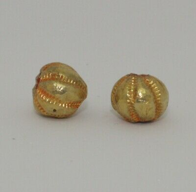 2 X Post Medieval Gold Beads - No Reserve 032