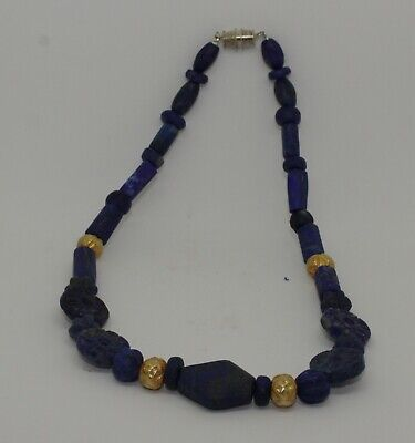 Ancient Lapis & Gold Bead Necklace - No Reserve 78