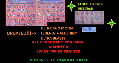ALL 76 SHINY LEGENDARY POKEMON 6IV LV100 Zeraora ULTRA Sun Moon XY ORAS