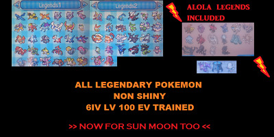ALL 76 NO SHINY LEGENDARY POKEMON 6IV LV100 ULTRA Sun Moon Sole Luna XY ORAS