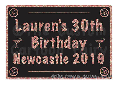 Personalised 18th,21st,30th,40th,50th,60th Black & Rose Gold T-shirt Transfers