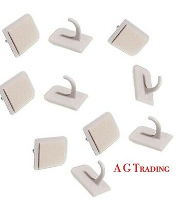 STRONG White SELF ADHESIVE Hooks Stick on NET Curtain Wire ROD Blind Window END