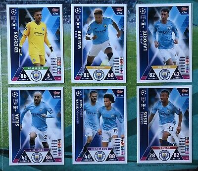 6 Manchester City Cards Match Attax Attack UEFA CHAMPIONS LEAGUE 2018 2019