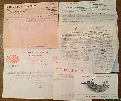 Rare Lot of Le Roy Plow Company Le Roy NY Letterhead, Billhead & Twin P-P Ad