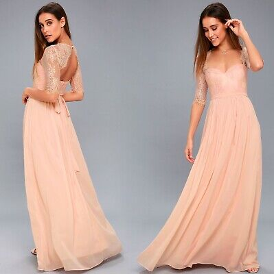 """NWT LULUS """"In a Fairy Tale"""" Sweetheart Lace Blush Pink Maxi Dress, Size S"""