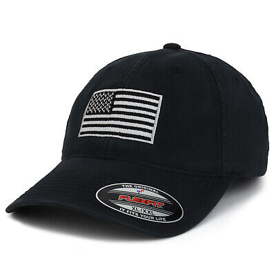 6ea2e0c25 XXL OVERSIZE GREY American Flag Embroidered Cotton Pigment Dyed Cap ...
