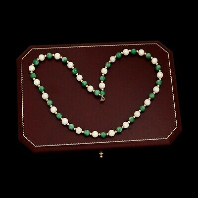 Antique Vintage Deco Retro 14k Gold Chinese Carved Jade & Pearl Beaded Necklace