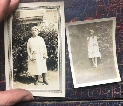 Pair of 1929 Antique Vintage Photographs Young girl old woman black and white