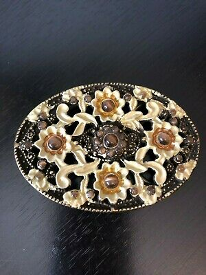 Flower See Through Belt Buckle Tiger Eye Like Stones Attractive