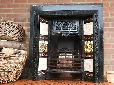 Extremely Pretty Antique Cast Iron Victorian Tiled Fireplace with Unique Tiles