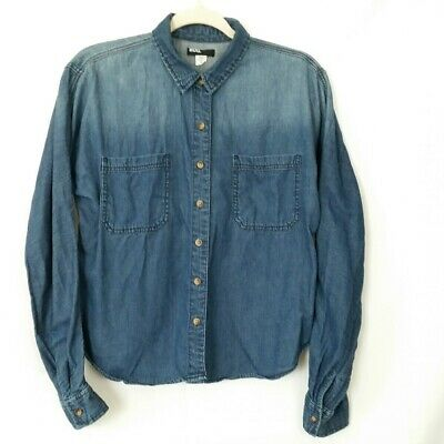 d75c0a697 Urban Outfitters BDG Womens Blue Chambray Button front Shirt Top Size Medium