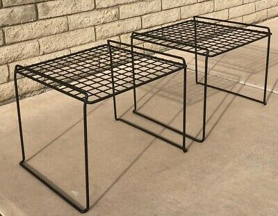 Pair Vintage Mid Century Modern Retro 1980s Harry Bertoia Era Patio End Tables