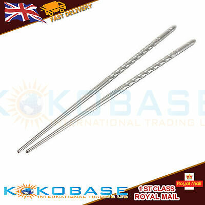 A Pair of Stainless Steel Metal Chopsticks Silver Chop Stick Korean Chinese Food