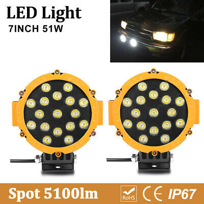 7inch Led Work Lights 51W Spot Round Bumper Backup Pods Trailer Truck ATV 4X4WD