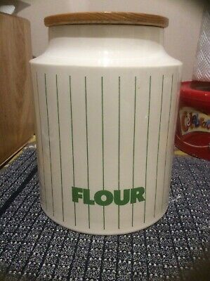 """Hornsea Stripe Green Large Flour Storage Jar Container Wooden Lid 7.75"""" Tall"""