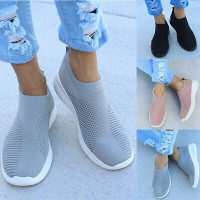 Womens Breathable Trainers Sock Sneakers Mesh Comfy Slip On Sports Running Shoes