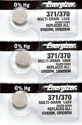 3 x Energizer 371 Watch Batteries, SR920SW or 370 Battery   Shipped from USA