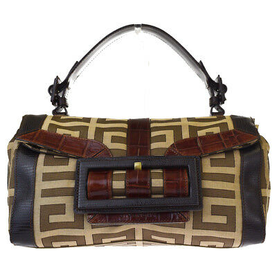 ff8d645dad99 Authentic GIVENCHY G Logos Shoulder Bag Canvas Leather Brown Gold-tone  09BE658