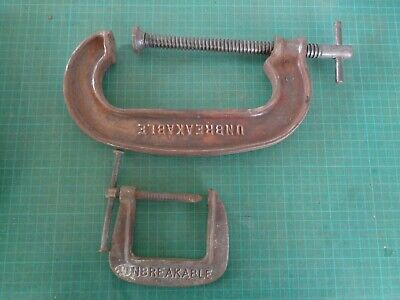 Vintage tools, 2 G clamps branded PAULCALL UNBREAKABLE 6 and PO2