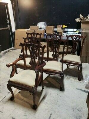 mahogany carved chippendale dining chairs set of 6