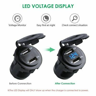 12V 24V Motorcycle Car 4.2A Dual USB Charger Socket Voltage Voltmeter Waterproof