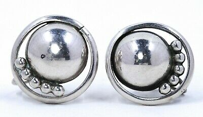 Kalo Arts & Crafts sterling silver earrings, hand wrought (#185)