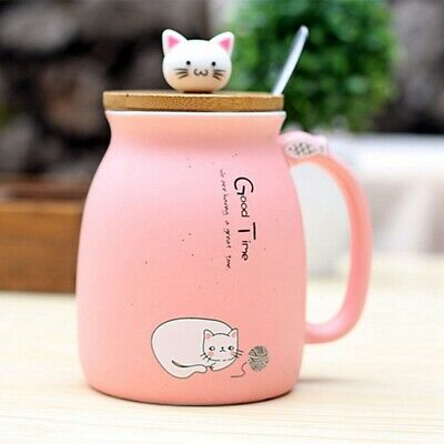 3X(New sesame cat heat-resistant cup color cartoon with lid cup kitten milk R1R5
