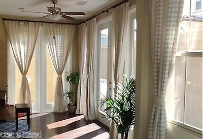 Rustic Chic Vintage Creamy Check Joint Honey Comb and Lace Curtains, Draperies