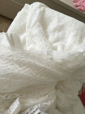 Classic British Idyllic Vintage 100% Cotton Off White Sheer Curtain,Lace Curtain