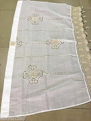 Valance Version: Pair of Shabby Chic Drawnwork Balloon Curtains, Pull-up Curtain