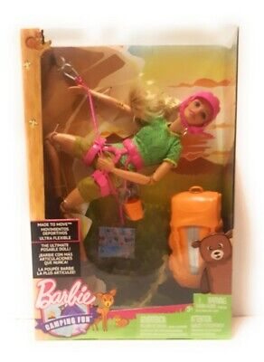 NEW Camping Fun Barbie Made To Move Ultra Flexible Posable Rock Climbing Doll