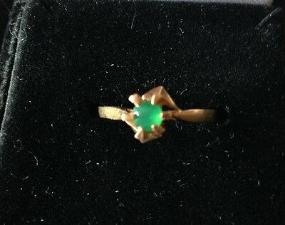 Estate 14k 585 Natural Colombian Emerald Solitaire Ring SALE