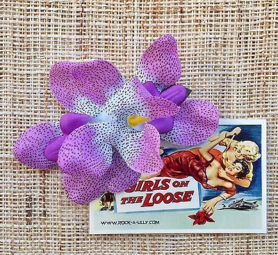 Speckled Lilac Double Orchid hair flower/clip Rockabilly/Hawaiian/Pinup/Wedding