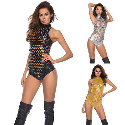 Women Metallic Shiny Bodysuit Cat Lady Wet Look Leather Jumpsuit Fancy Costume