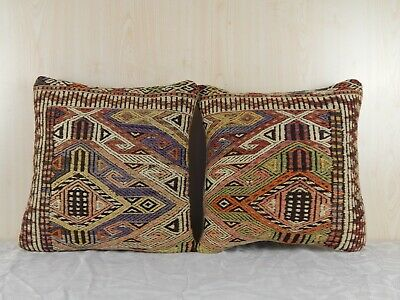 16'' X 16'' Antique Kilim Pillow Cover Set of Two Turkish Handmade Wool Cushions