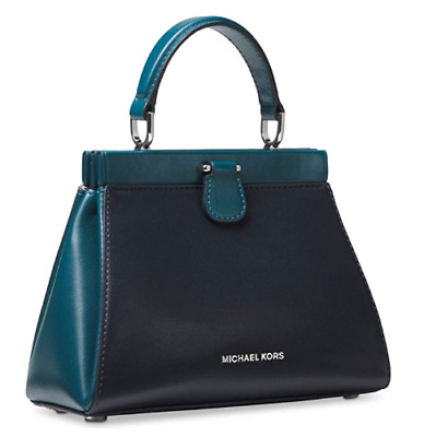 008c37567f4694 Michael Kors Gramercy Small Frame Leather Satchel Handbag Teal Admiral Blue