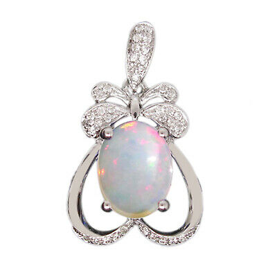 1.95Ct Natural Australian Opal Oval Shape Solitaire Pendant In 925 Silver