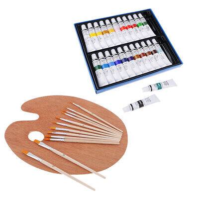 Prettyia 37 Acrylic Paints Painting Brushes Wood Wooden Palette for Artists