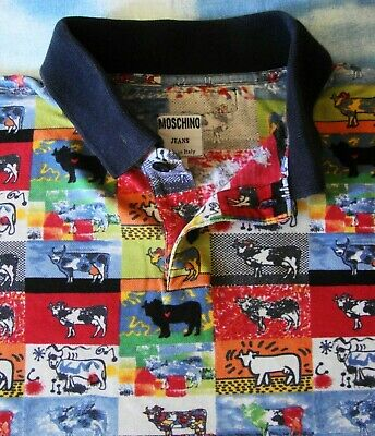 POLO T-SHIRT man  vintage 8's MOSCHINO jeans  made Italy TG.M RARE