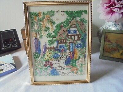 Vintage Framed Cottage Garden Embroidery With Back Stand