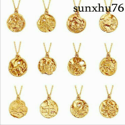 Zodiac New Pendant Gold Chain Constellation Zirconia Necklace Stainless Steel