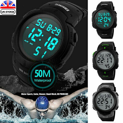 Mens Sports Watches Dive 50m Waterproof Digital LED Military Watch Wristwatches